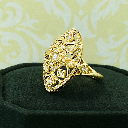 14k Yellow Gold Diamond Shield Ring