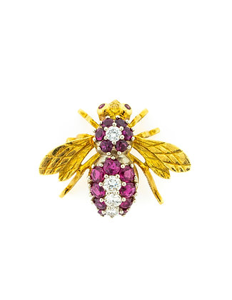 18K Yellow Gold Bumble Bee Brooch