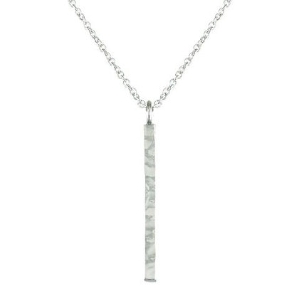 Sterling Silver Hammered Stick Pendant Necklace