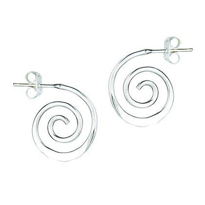 Sterling Silver Hammered Spiral Hoop Earrings