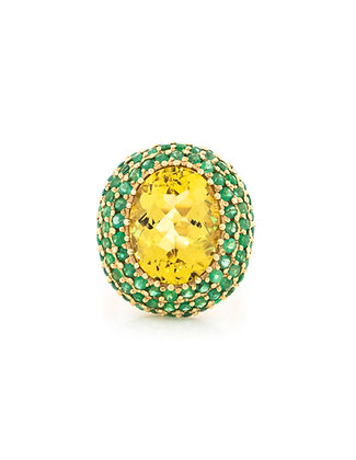 18K Golden Beryl Ring with Emeralds