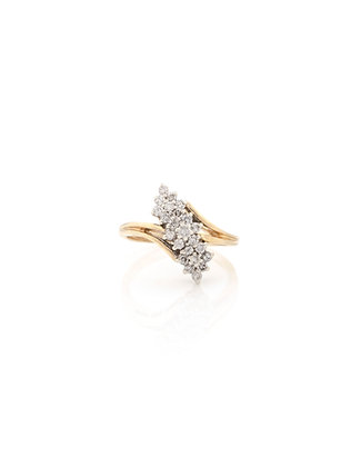 14kYellow Gold Diamond Waterfall Cluster Ring