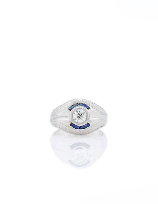 20k White Gold Gent's Diamond Ring with Sapphire Accents