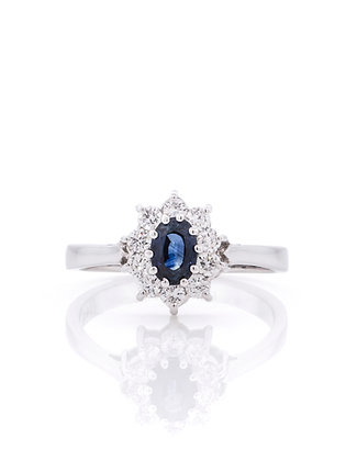 14K White Gold Sapphire & Diamond Halo Flower Ring