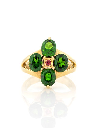18K Yellow Gold Chrome Diopside Ring