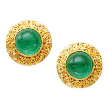 18k Yellow Gold Emerald Disc Earrings by Steven Battelle