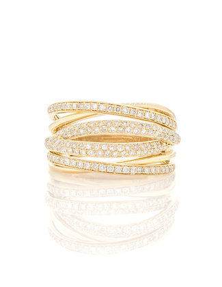 14k Yellow Gold Multiple Row Diamond Ring