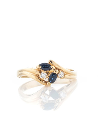 14k Yellow Gold Marquise Shape Sapphire and Diamond Ring, Size 6