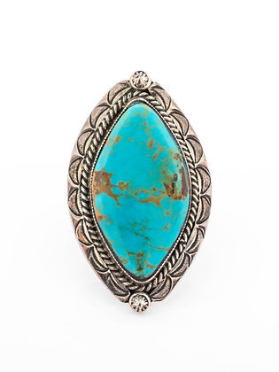 Sterling Silver Marquise Shape Turquoise Ring, Size 7.5