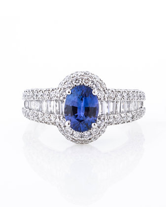 14k White Gold Sapphire and Diamond Ring, Size 6.75