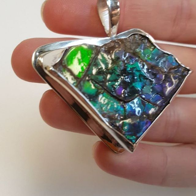 This beautiful ammolite came to us from