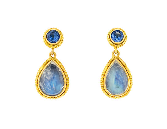 18K Yellow Gold Blue Moonstone And Kyanite Earrings