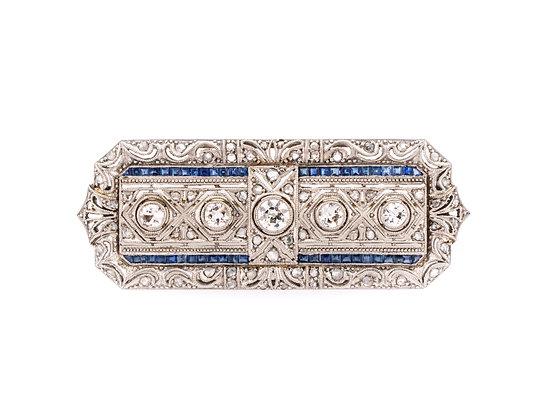 Platinum Diamond and Sapphire Brooch