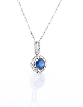 14k White Gold Sapphire & Diamond Necklace, 18""