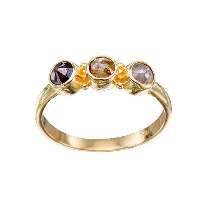 18k Yellow Multi Colored Diamond 3 Stone Ring from Steven Battelle