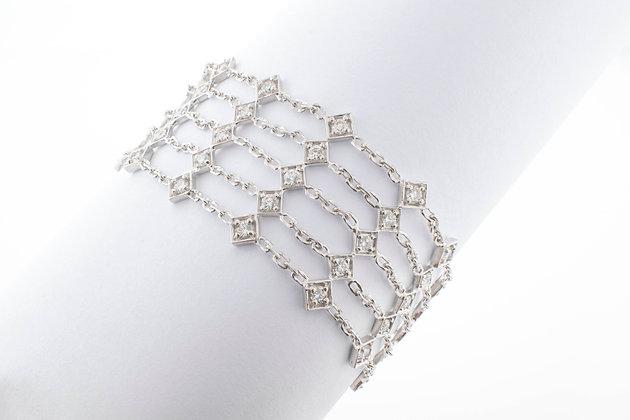 14k White Gold 5 Row Diamond Tennis Bracelet, 7.5 inches