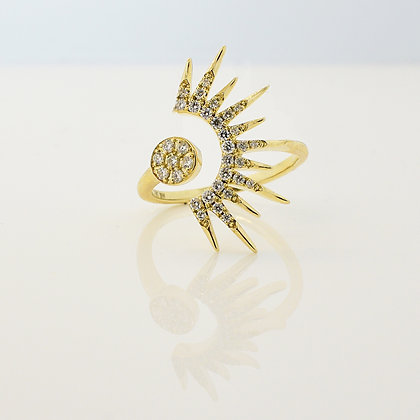 14k Yellow Gold Sunburst Open Shank Ring