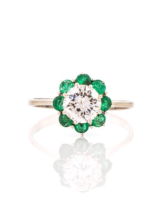 18k White Gold Diamond and Emerald Halo Ring