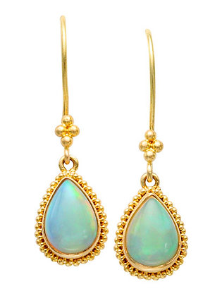 18k Yellow Gold Pear Opal Drop Earrings by Steven Battelle