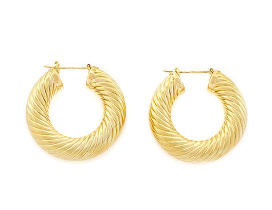 18K Yellow Gold Swirl Hoop Earrings