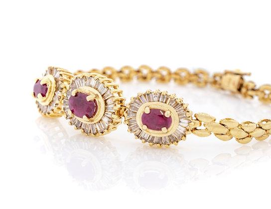 14k Yellow Gold Ruby And Diamond Bracelet
