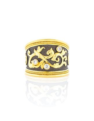 18k Yellow Gold with Grey Rhodium Diamond Byzantine Ring