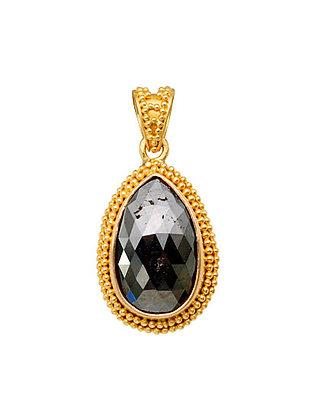 18k Yellow Gold Pear Shape Black Diamond Pendant