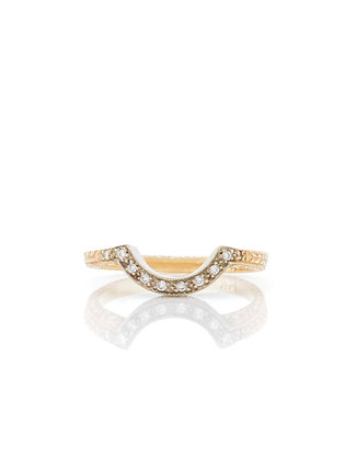 14k Two Tone Diamond Curved Band