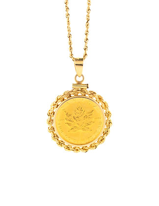 14k Yellow Gold (1982) Maple Leaf Framed Coin Pendant