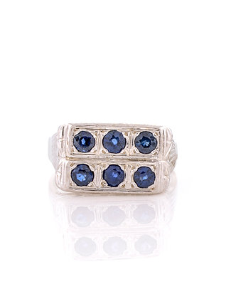14k White Gold Vintage Sapphire Ring
