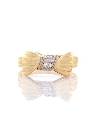 14k Yellow Gold Diamond Bow Ring
