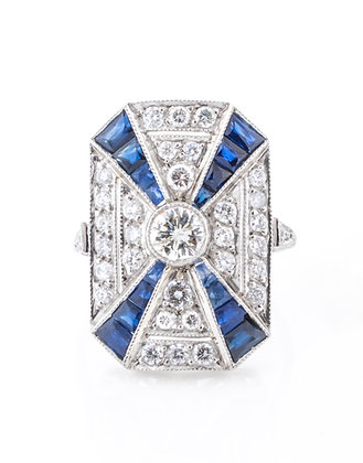 Platinum Diamond and Sapphire Shield Ring with Euro Cut Center. Size 6.25