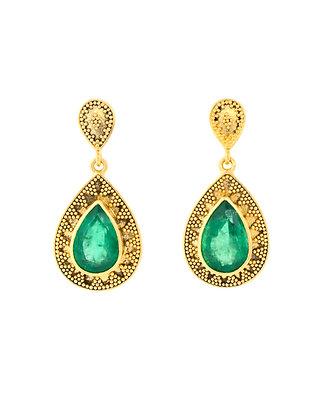 18K Yellow Gold Pear Shape Emerald Earrings