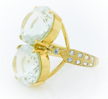 18k Yellow Gold Green Amethyst Ring
