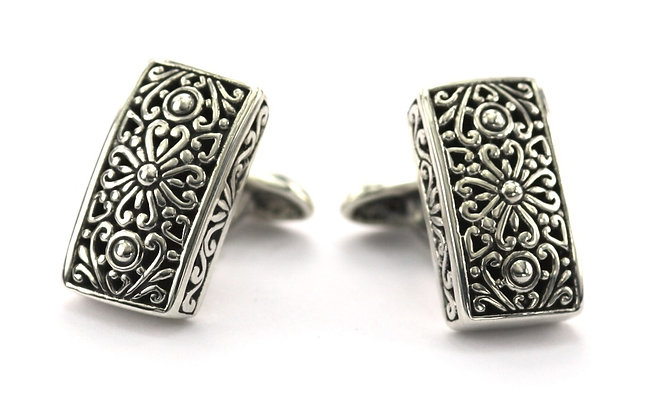 Indiri Sterling Silver Bali Cuff Links