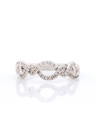 14k White Gold Woven Diamond Band
