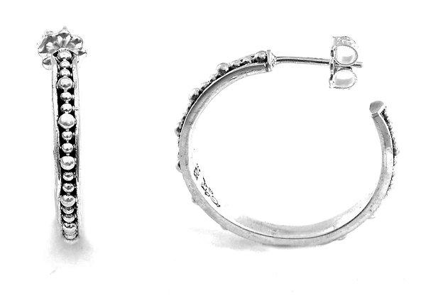 Indiri Sterling Silver Bali Beaded Hoop Earrings