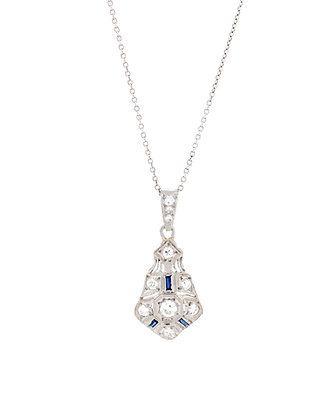 Platinum Antique Diamond And Sapphire Necklace