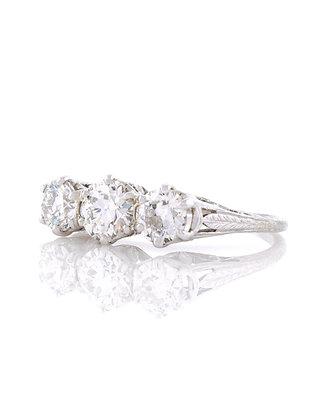 14K White Gold Three Stone Diamond Engagement Ring