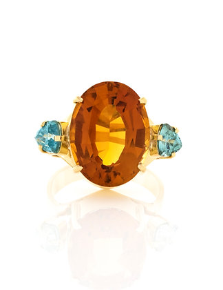 18K Yellow Gold Citrine And Blue Zircon Ring