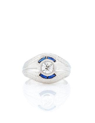 20K White Gold Gent's Sapphire & Diamond Ring