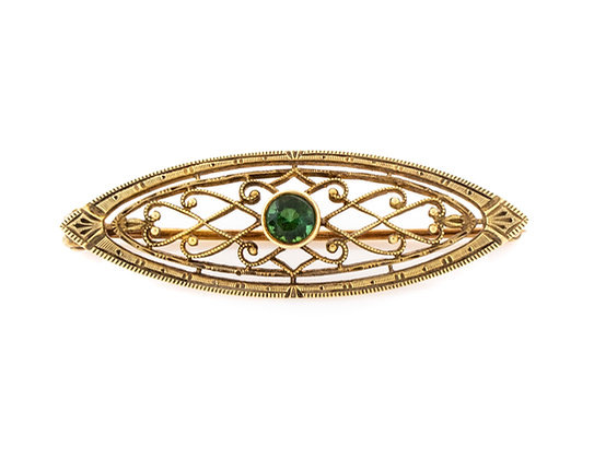 14K Yellow Gold Pin With Green Garnet