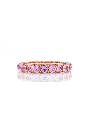 14k Rose Gold Pink Sapphire and Diamond Eternity Band, Size 7