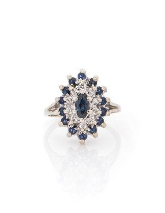 14k White Gold Sapphire & Diamond Cluster Ring