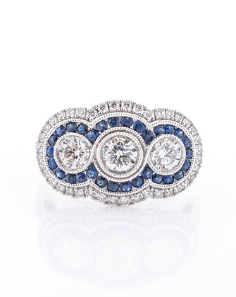 14k White Gold Diamond and Sapphire Ring, Size 7