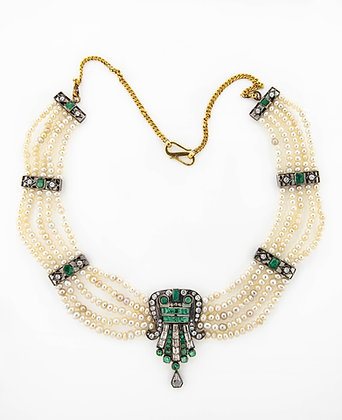 1890's 18k/10k Seed Pearl Necklace with Emeralds and Diamonds