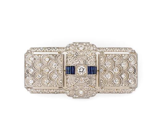 18K Platinum Diamond Brooch