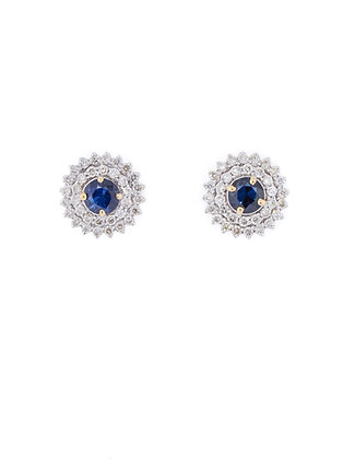 18k Two Tone Sapphire and Diamond Halo Studs