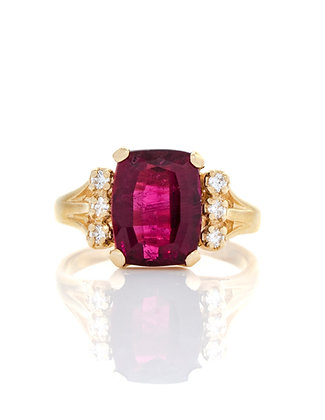 14K Yellow Gold Rubellite And Diamond Ring