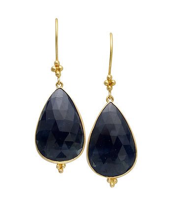 18k Yellow Gold Sapphire Earrings by Steven Battelle